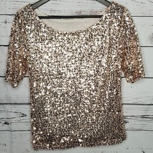Soft Pink Sequin Blouse Sz S Lined Holiday
